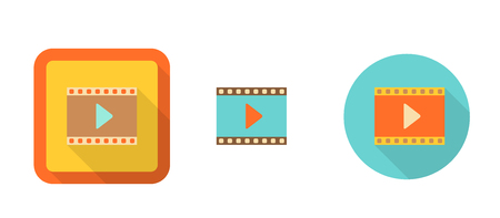 video player: set of colorful retro icons - video, suitable for flat design, isolated on white illustration