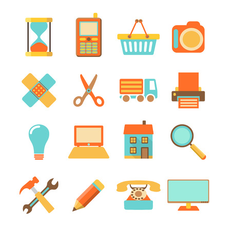 Set of colorful flat icons isolated on white background, vector illustration Vector