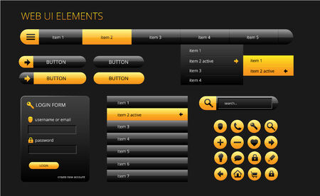 modern black and yellow web ui elements, vector illustration Vector