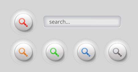search bar: gray search bar with 3d effect and buttons, vector illustration Illustration