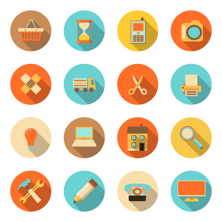 print shop: flat style colorful icons with long shadow on white background, vector illustration Illustration
