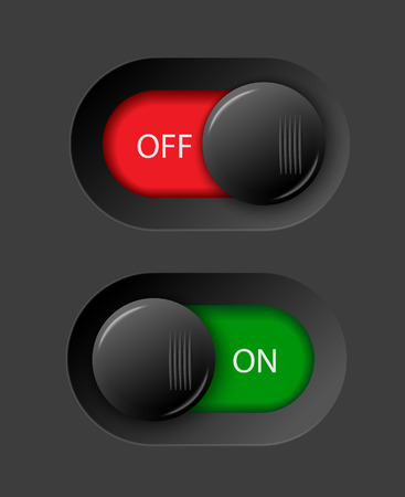 on - off switches, white with 3d effect, with red and green background, vector illustration