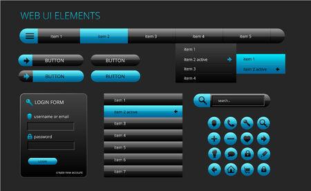 modern black and blue web ui elements, vector illustration Vector