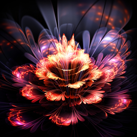 abstract orange and purple flower with sparkles, illustration,  digital generated fractal 스톡 콘텐츠