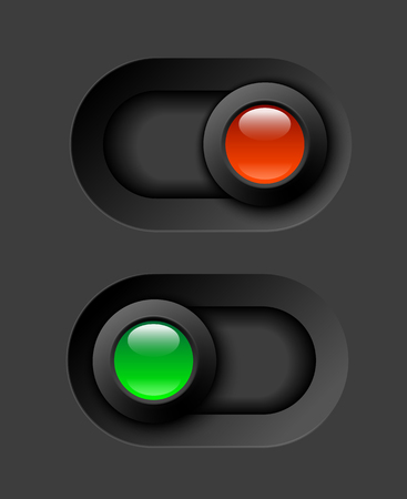inactive: on - off switches, white with 3d effect, with red and green led light, vector illustration, eps 10 with transparency