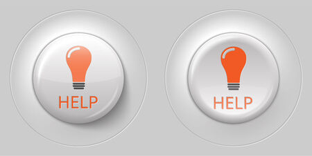 help button: big white glossy help button, with 3d effect illustration Illustration