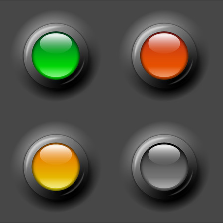 inactive: gray, green and red glossy control buttons