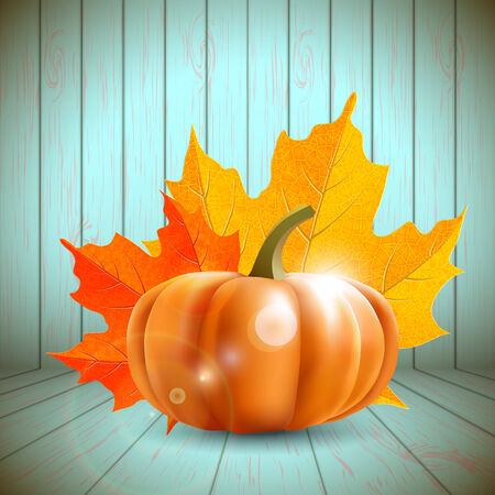 2 november: pumpkin and maple leaves with blue wooden wall in background, vector illustration