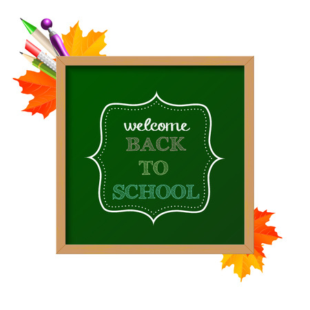 Chalkboard sign with text  back to school , with autumn leaves and ballpoints in background  Vector