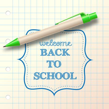 ballpoint:  back to school  sketch with ballpoint, vector illustration  Illustration