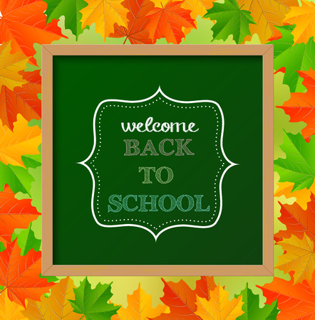 Chalkboard sign with text  back to school , with autumn leaves in background, vector illustration Vector