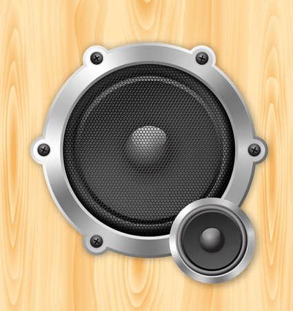 speaker on wooden background Vector