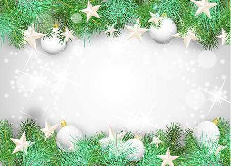 pine needles: Christmas background with white ornaments and branches, vector illustration