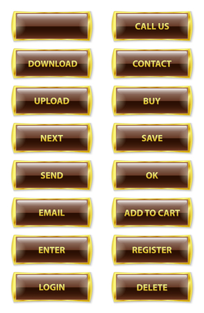 add button: collection of brown and golden rectangle glossy internet buttons with text on white background, vector illustration