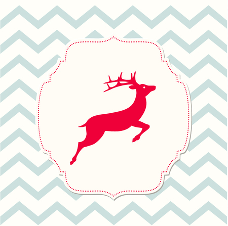 red deer: red deer on beige background and chevron texture, christmas illustration, vector, eps 10