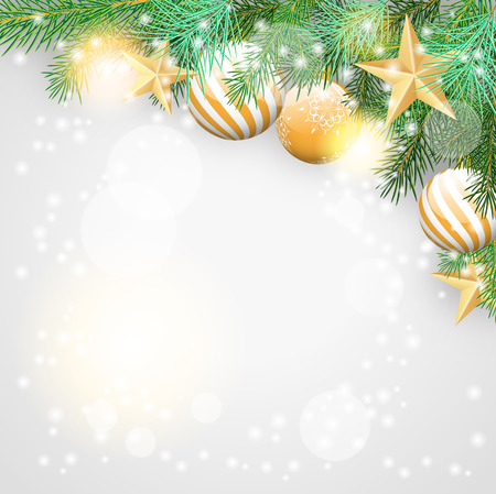 star border: Christmas background with branches and golden ornaments, vector illustration, eps 10, with transparency  and gradient mesh Illustration
