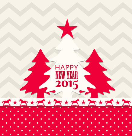 christmas and new year 2015 greeting card, vector illustration, eps 10 with transparency Vector