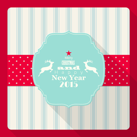 christmas and new year 2015 greeting card with reindeer, vector illustration, eps 10 with transparency Vector