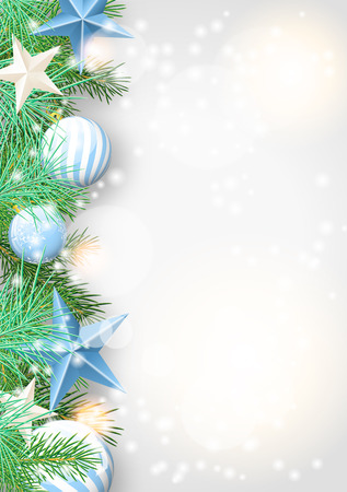 Christmas background with green branches and blue baubles and stars, vector illustration, eps 10 with transparency and gradient mesh