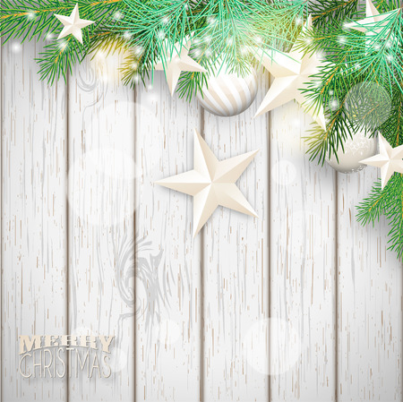 wooden vector mesh: Christmas background with green branches and yellow ornaments on old white wooden background, vector illustration, eps 10 with transparency and gradient mesh Illustration