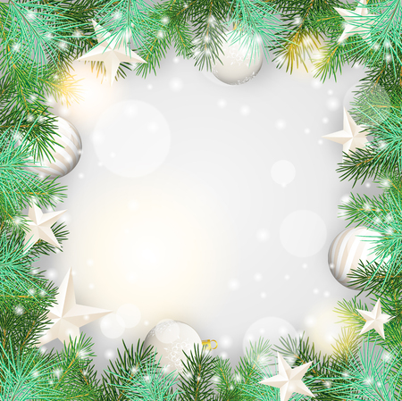 fancy border: Christmas background with green branches and white baubles and stars, vector illustration, eps 10 with transparency and gradient mesh Illustration