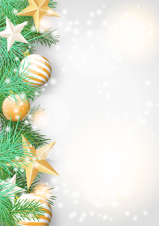 Christmas background with green branches and yellow baubles and stars, vector illustration, eps 10 with transparency and gradient mesh Vector