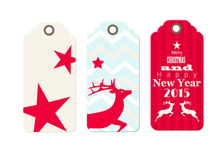 Three christmas tags in shabby chic style, isolated on white background Vector