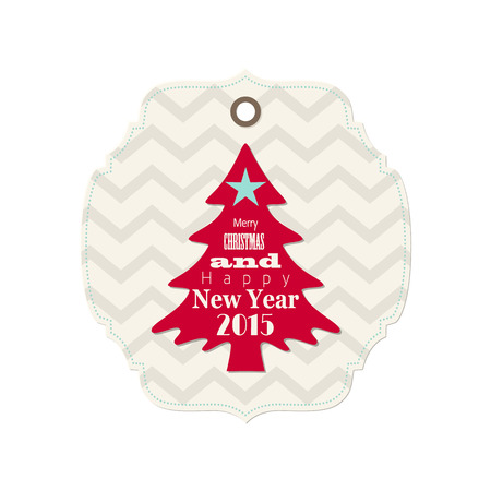 christmas and new year 2015 label with red tree, isolated on white background Vector