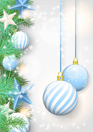 Christmas background with blue ornaments and branches, vector illustration eps 10 with transparency and gradient meshes Vector