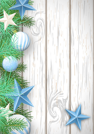 Christmas wooden background with green branches and blue baubles and stars, vector illustration. Vector