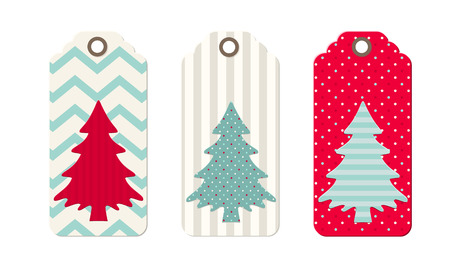Three christmas  tags in shabby chic style, isolated on white background, vector illustration Vector