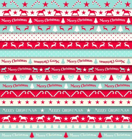 mo�os de navidad: colecci�n de cintas de navidad, rojo, blanco y turquesa, ilustraci�n vectorial Vectores