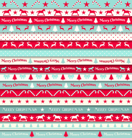 collection of christmas ribbons, red, white and turquoise, vector illustration Illustration