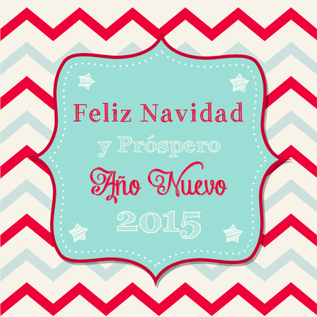 Christmas greeting card with text May your days be merry and bright in spanish on background with chevron pattern Vector