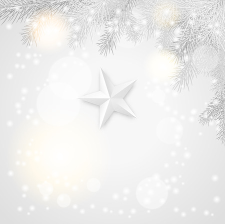 polar lights: gray christmas background with branches and star, vector illustration
