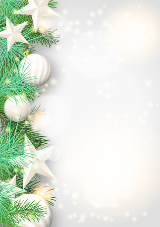 Christmas background with green branches and white baubles and stars, vector illustration