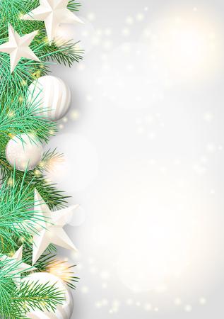 Kerst achtergrond met groene takken en witte kerstballen en sterren, vector illustratie
