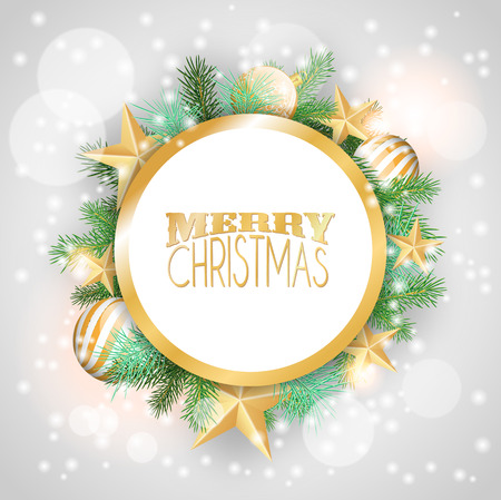 Blue christmas background with yellow ornaments and branches Vector