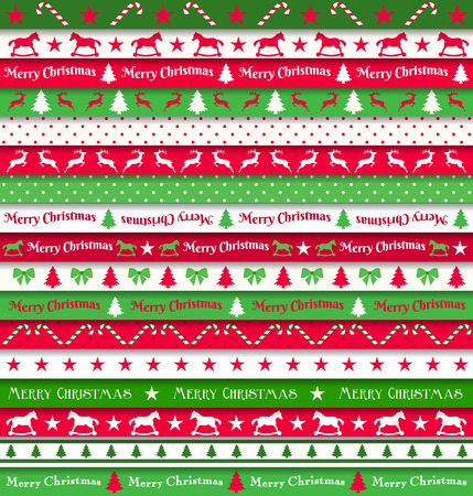 candy border: collection of christmas ribbons, red, white and green