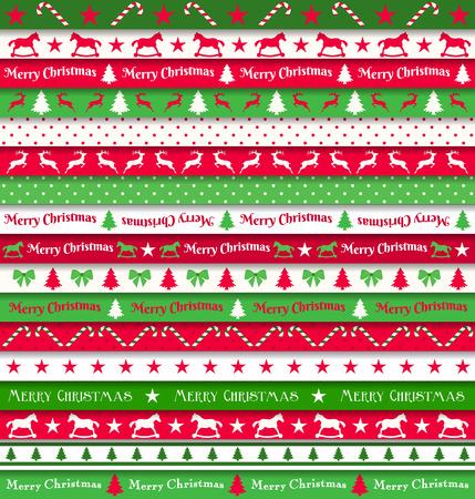 verzameling van kerst linten, rood, wit en groen