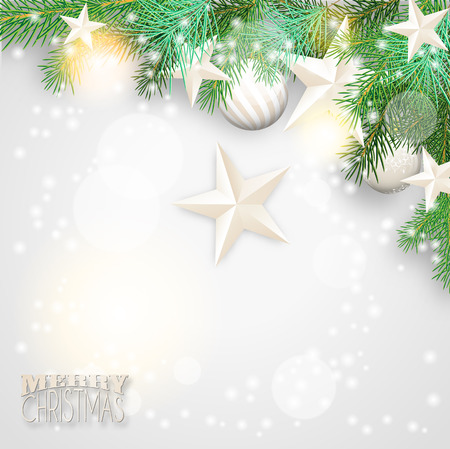 Christmas background with branches and white ornaments Vector