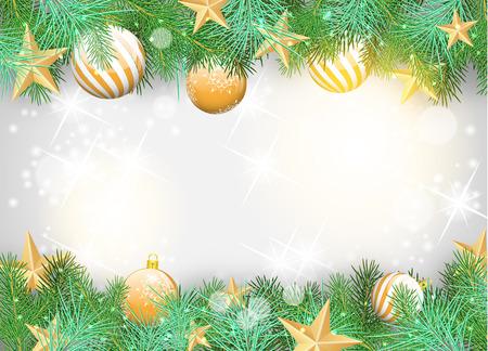 Kerst achtergrond met gele ornamenten en takken