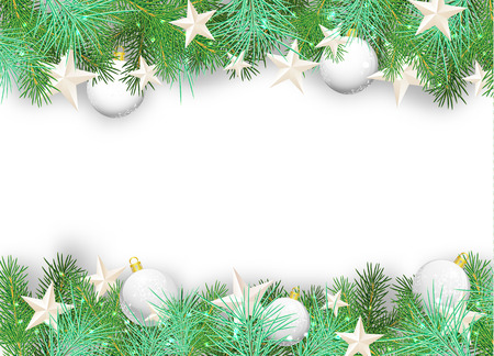 Christmas background with white ornaments and branches on white background Illustration