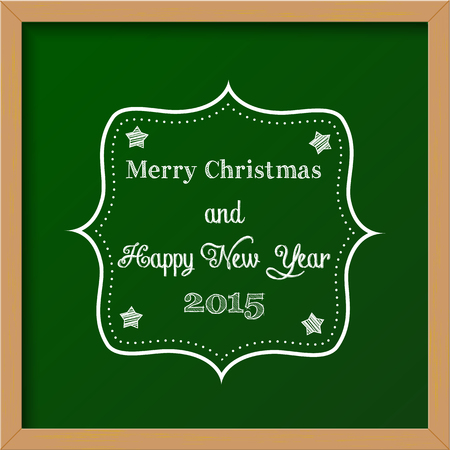 christmas greeting card, colorful chalkboard sign Vector