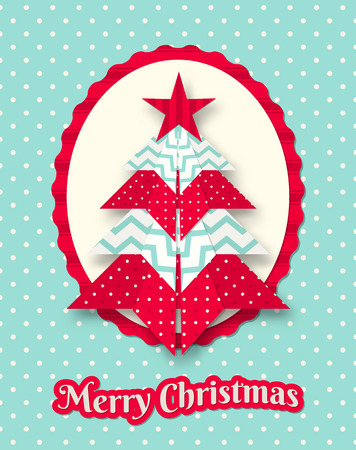 christmas card with abstract patterned origami tree on dotted background, vector illustration, eps 10 with transparency and gradient mesh Vector