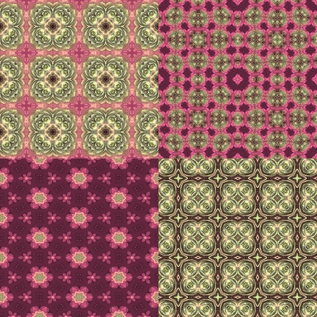 set of four seamless pink and green floral textures