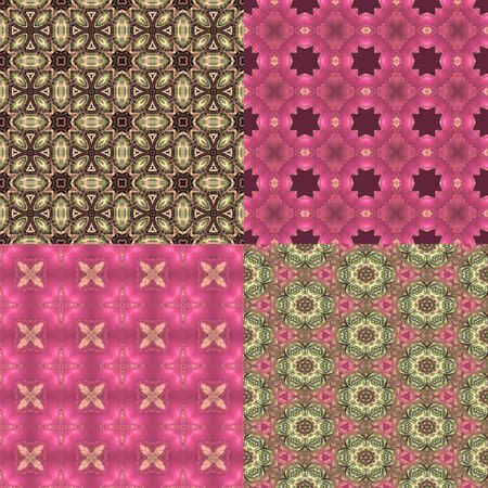 opulent: set of four seamless pink and green floral textures