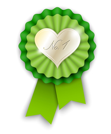 no1: green ribbon rosette with golden heart and text No.1, vector illustration, eps 10 with transparency and gradient mesh