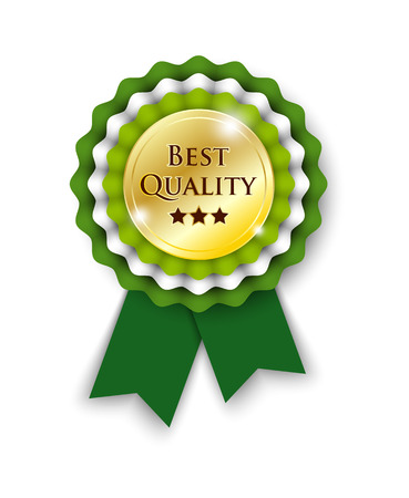 rosette: green rosette with text best quality