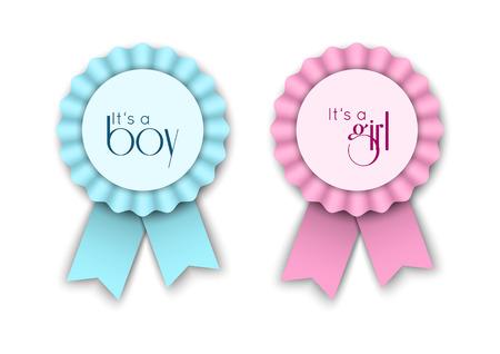 Deux rosettes de ruban pour le bébé nouveau-né